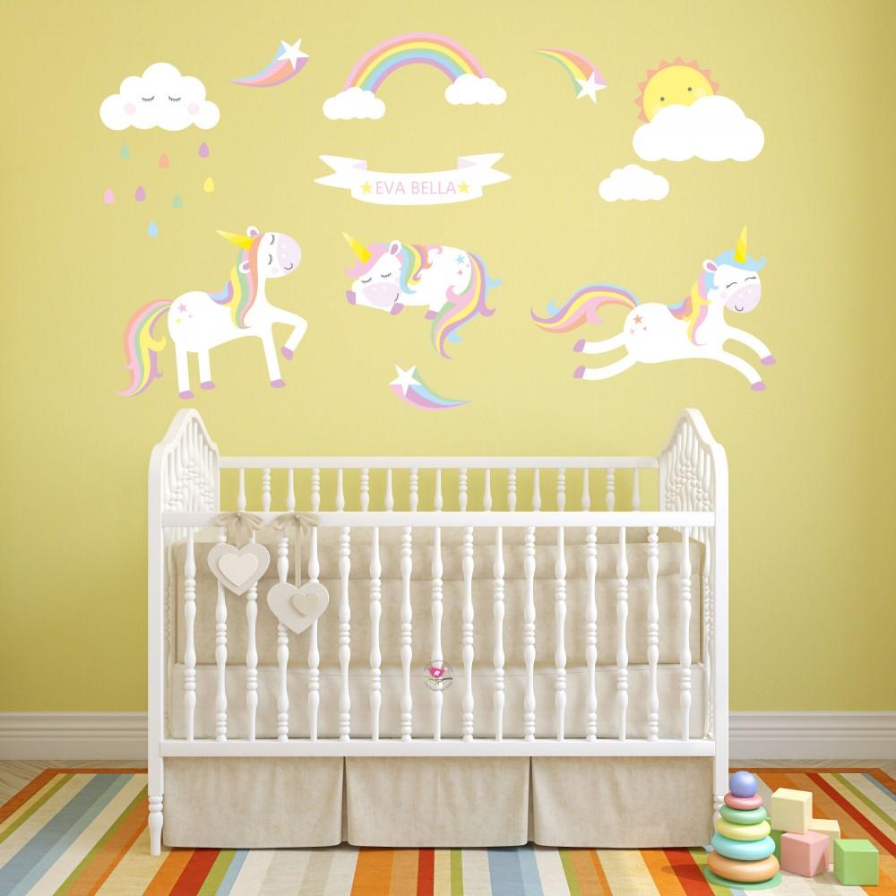 Whymiscal Unicorns and Magical Rainbow Nursery Wall Decals