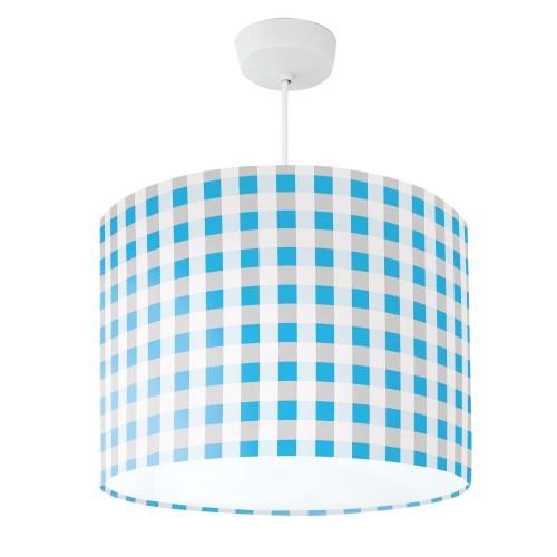Lampshade Blue & Grey Check