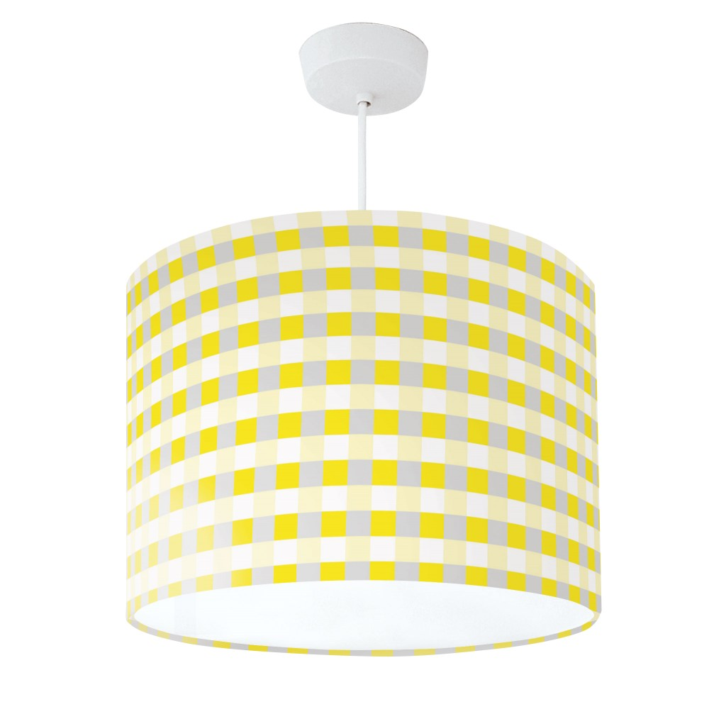 Lampshade Yellow Grey & White Check