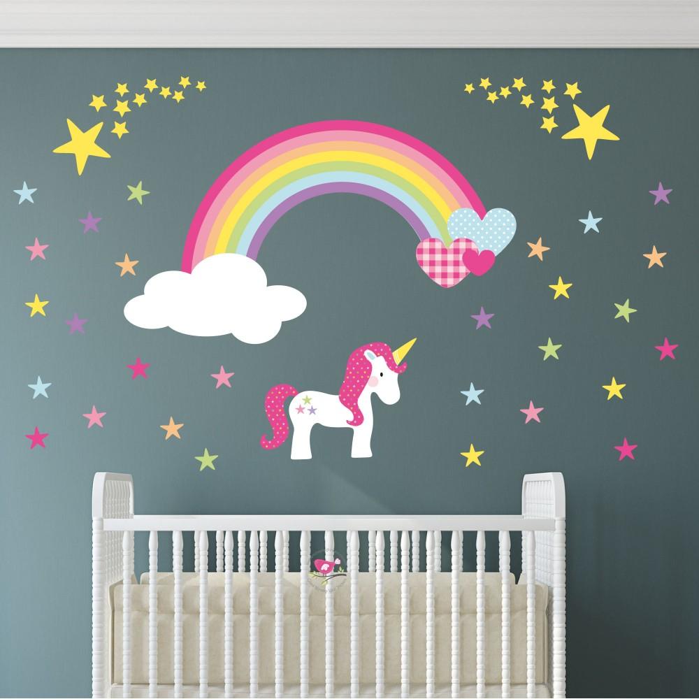 Unicorn Rainbow Heart & Stars Nursery Wall Sticker