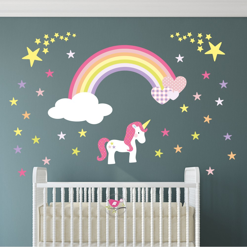 Unicorn Rainbow Heart & Stars Nursery Wall Sticker