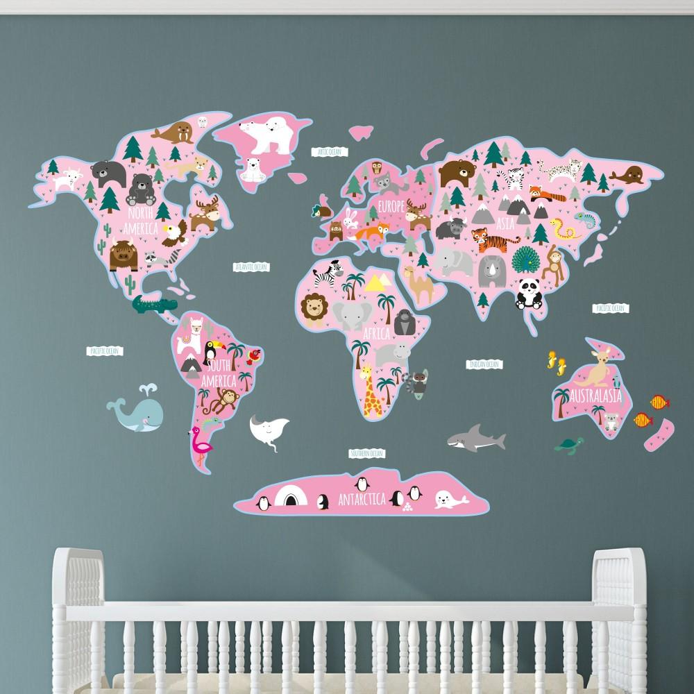 Girls Map of the World Wall Sticker