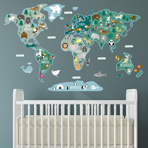 Childrens Map of the World Wall Sticker