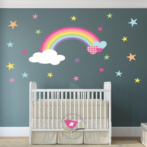 Magical Rainbow, Heart & Stars Nursery Wall Sticker