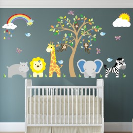 Jungle Wall Decals, Rainbow and Sunshine