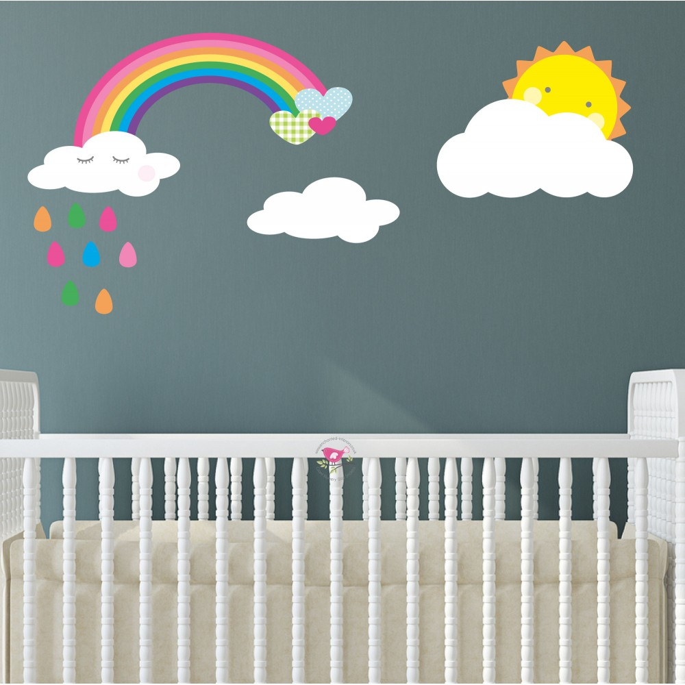 Raindrop Rainbow and Sunshine Wall Stickers