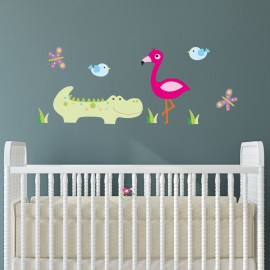 Crocodile Flamingo Wall Decals