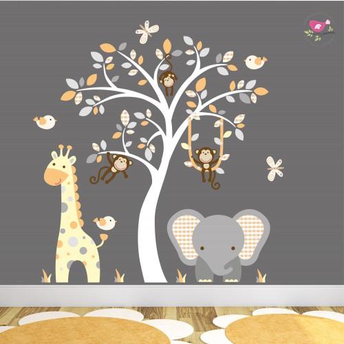 Elephant and Giraffe Orange and Grey Nursery