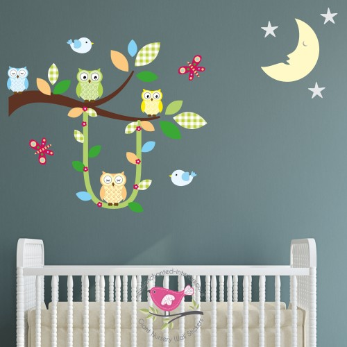 Swinging Owl Branch Gender Neutral Decals