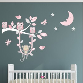 Monkey Owl Branch Wall Decals