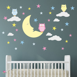 Moon and Owls Nursery Wall...
