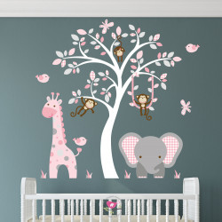 Elephant and Giraffe Pink...