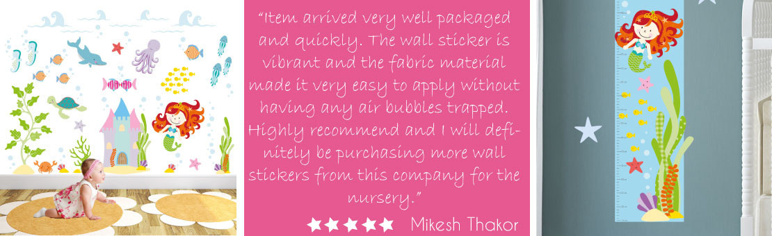 mermaid wall stickers also featuring friendly under the sea creatures